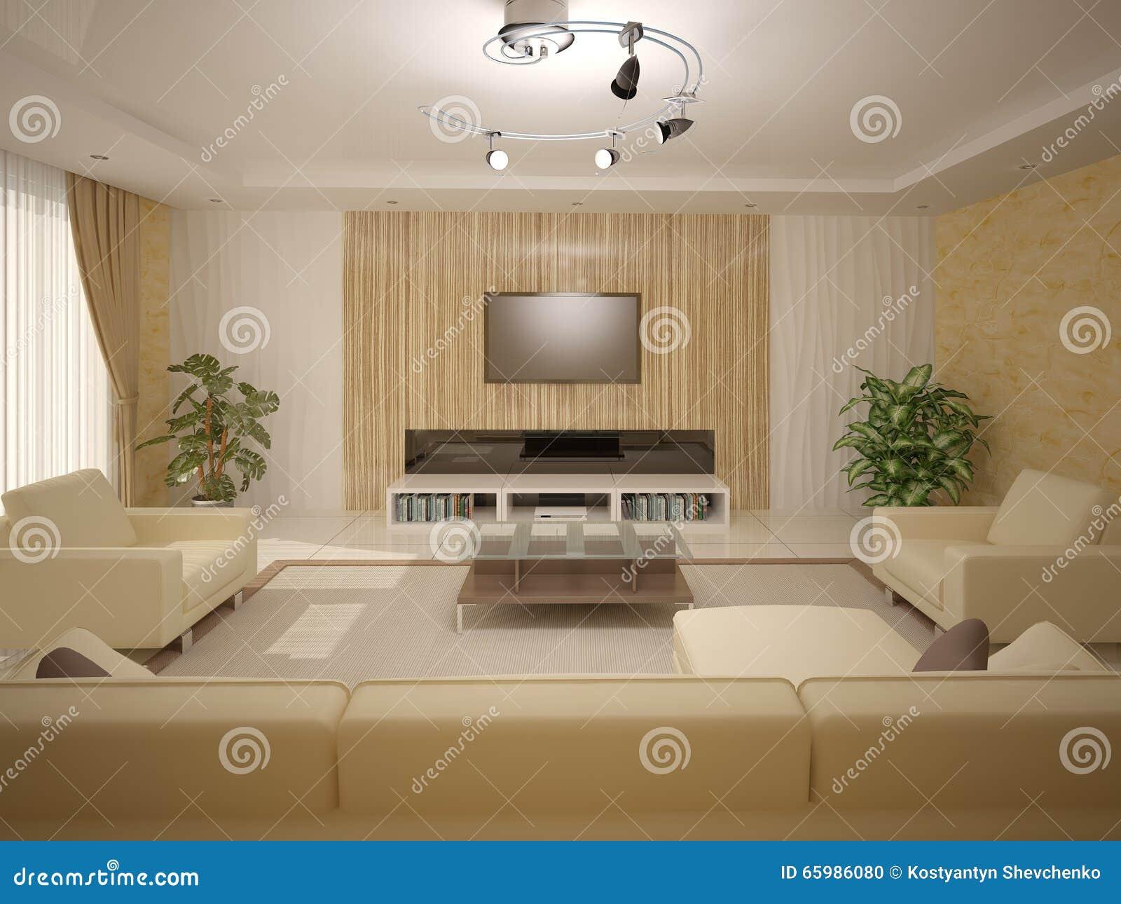 Interer living room with light furniture