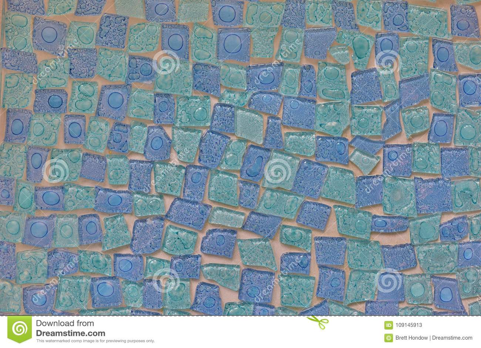 Interesting Blue Mosaic Tile Pattern. Stock Image - Image of crafts ...