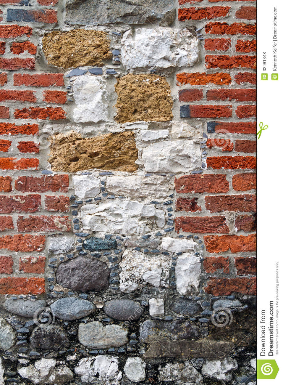 Interesting brick and stone wall stock photo image 32991348 for Mixing brick and stone