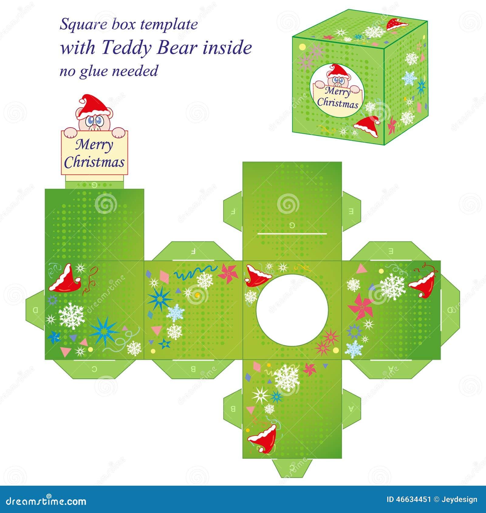 Interesting Christmas Box Template Stock Vector Illustration Of
