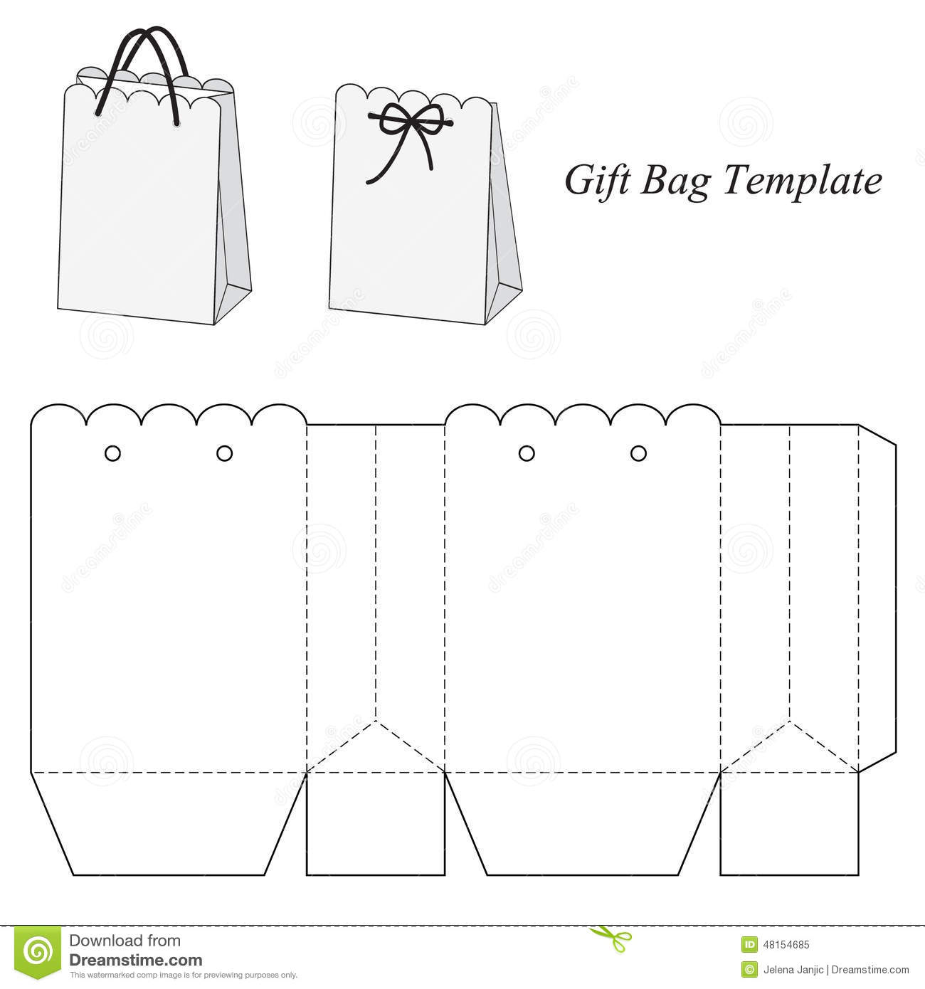 interesting gift bag template stock vector illustration of holiday