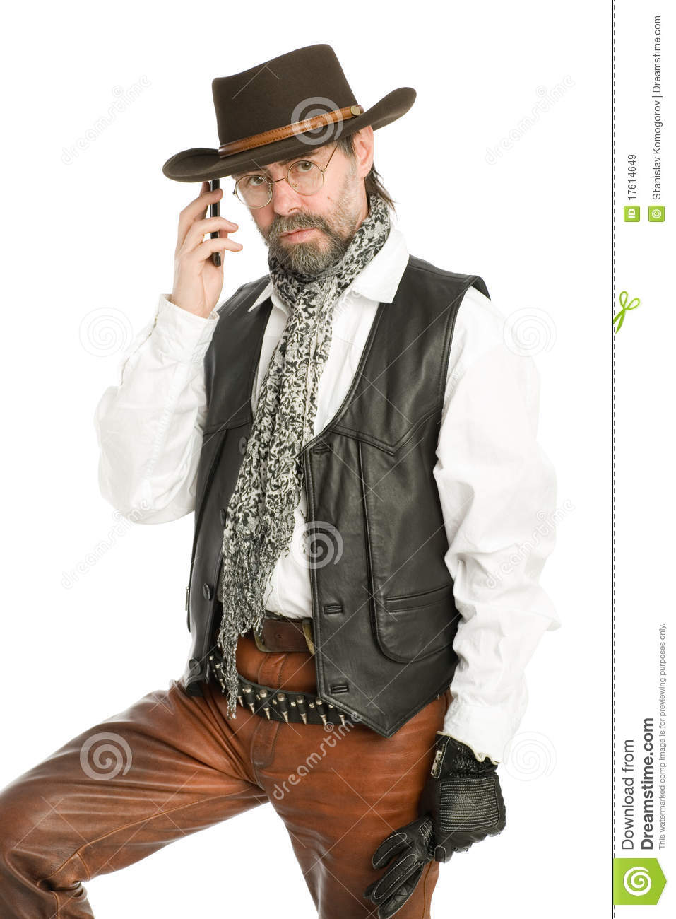 Interesting man talking on a mobile phone