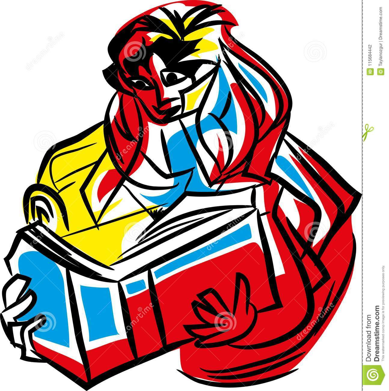 Interesting reading abstract colorful drawing isolated with white background