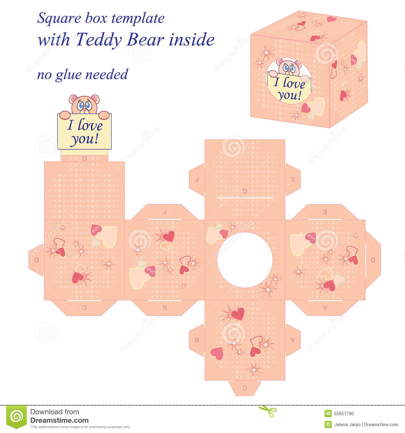 Interesting square box template with cute teddy bear inside holding interesting square box template with cute teddy bear inside holding note i love you maxwellsz