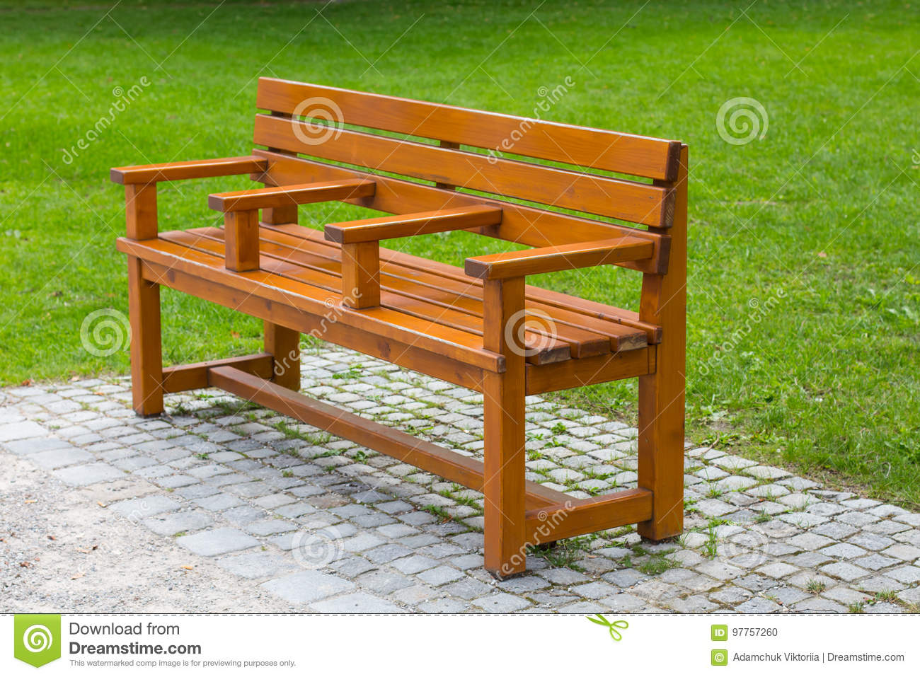 Interesting unusual wooden park bench at a park