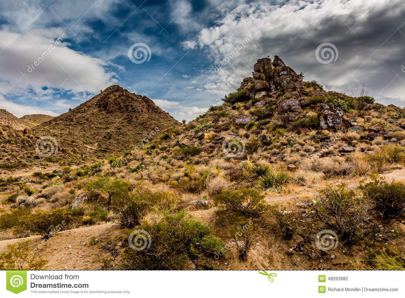 Interesting West Texas Landscape of Desert Area with Rocky Hills and Graffiti.