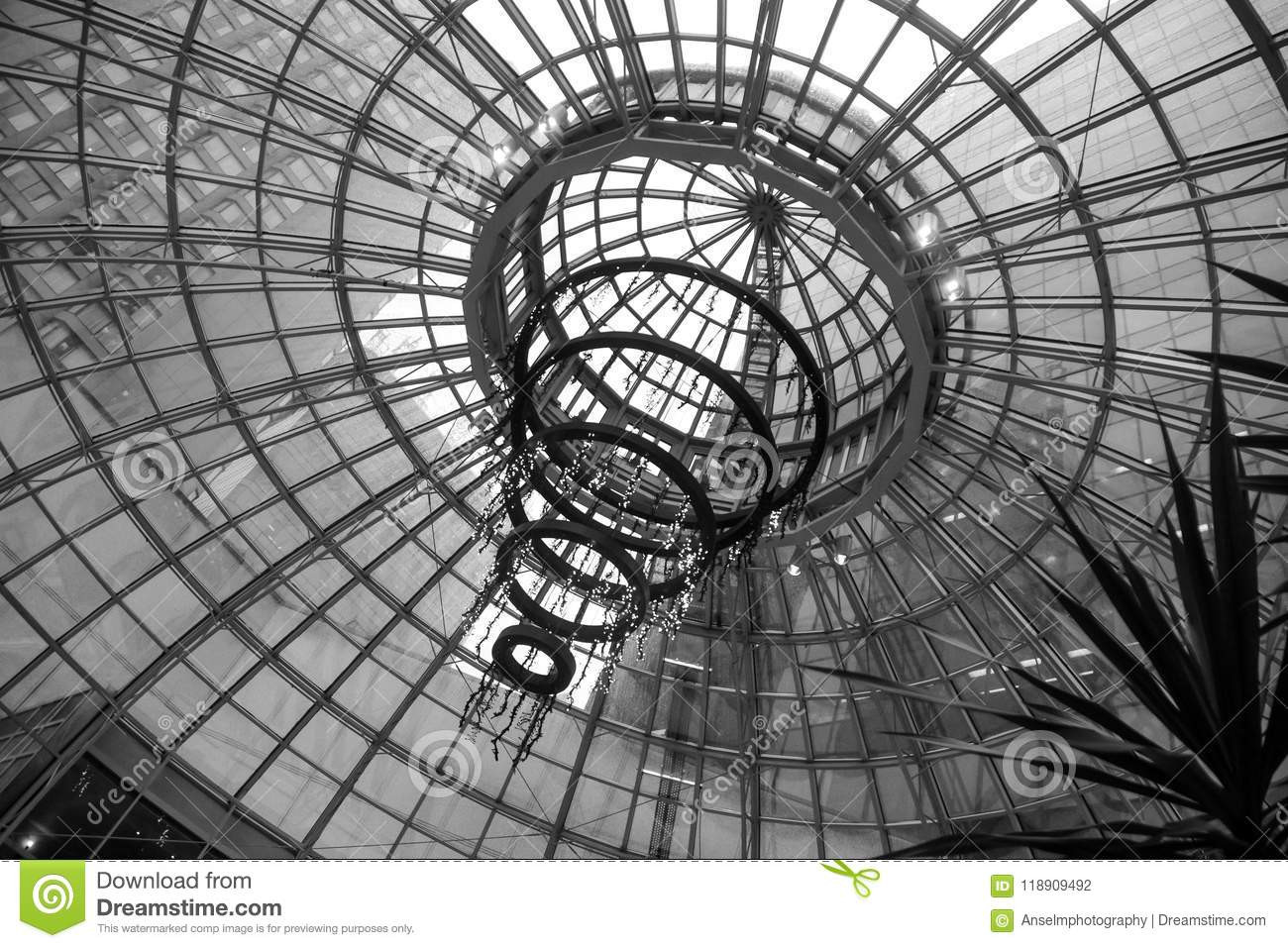 Interestingly Design Glass Dome Ceiling Of A Building In Vancouver Downtown In Black and White