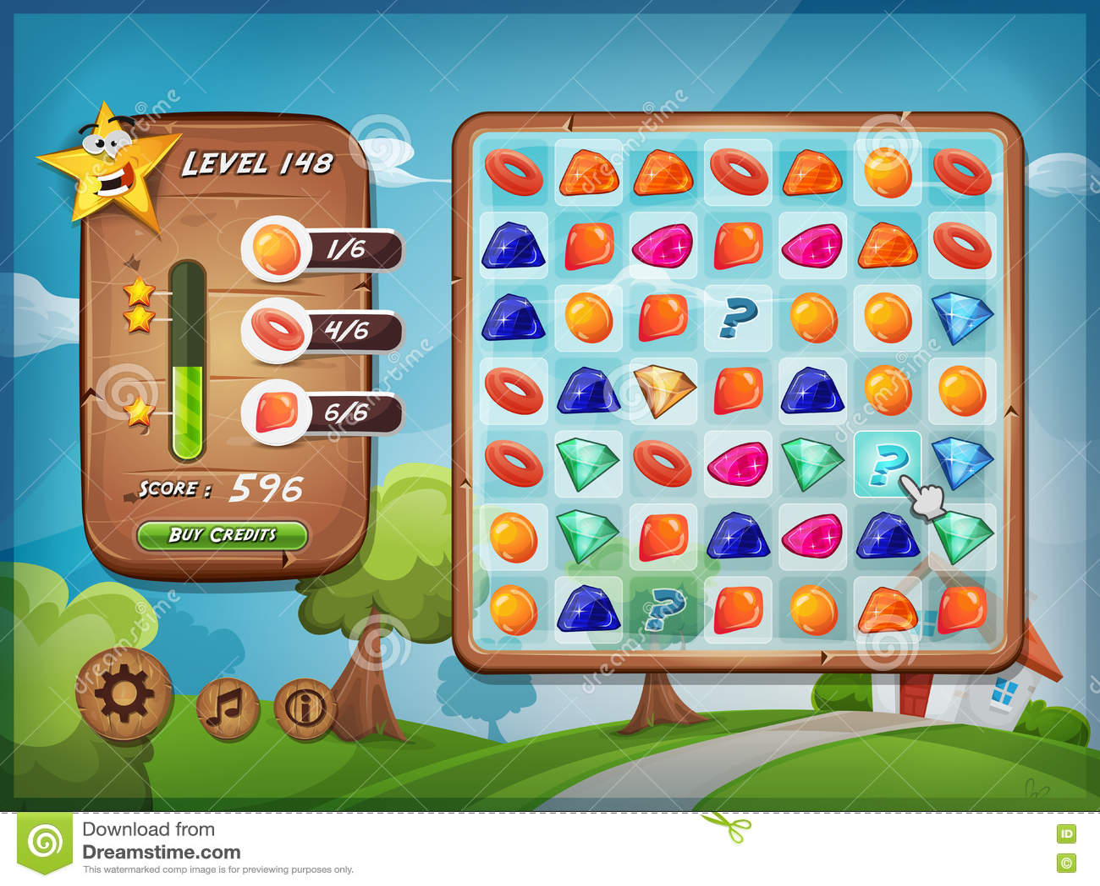 Interfaccia utente del gioco dello scambista per il pc della compressa