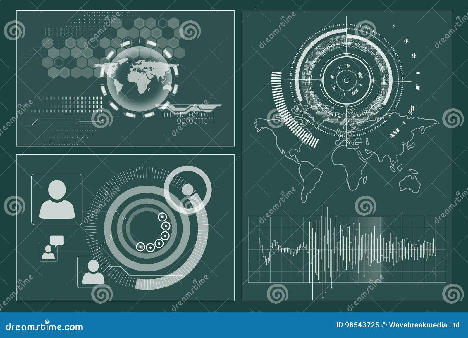 Interface d affaires avec des graphiques