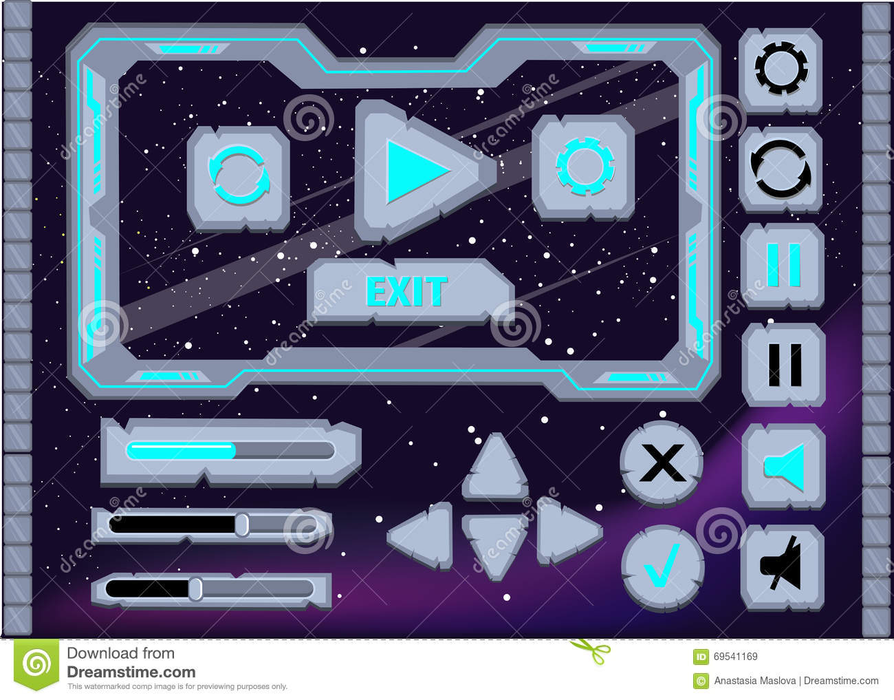Set Of Space Button For Game Design Stock Photography