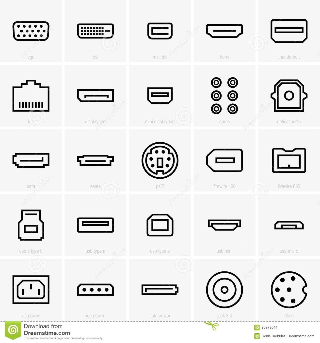 interface icons stock vector  illustration of esata  power
