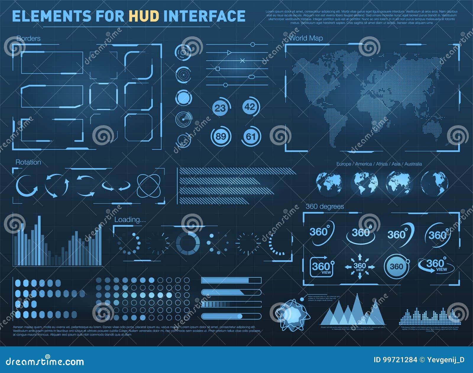 Interface utilisateurs de HUD avec des éléments de vecteur