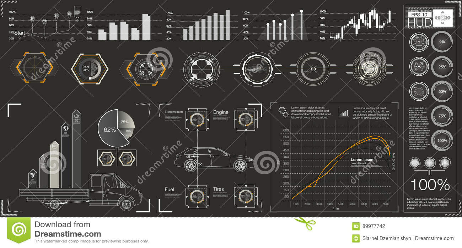 Interface utilisateurs futuriste HUD UI Interface utilisateurs graphique virtuelle abstraite de contact Voitures infographic Abré