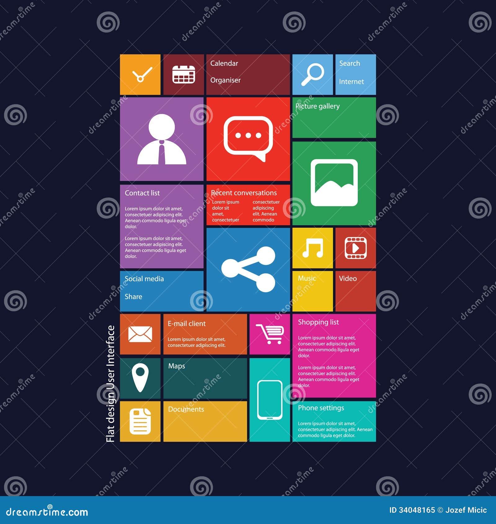 Interface utilisateurs graphique de conception plate