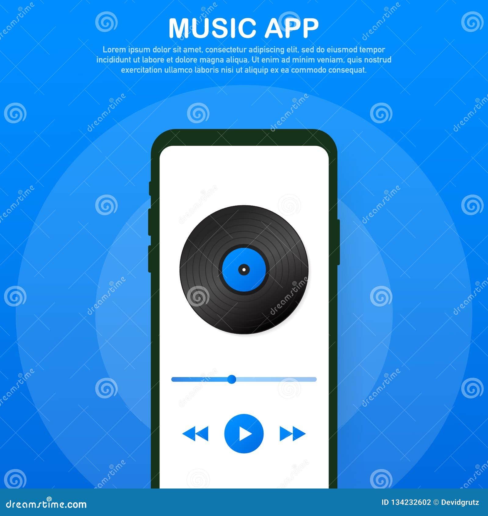 Interfaz de la aplicación móvil Jugador de música Música App Ilustración del vector