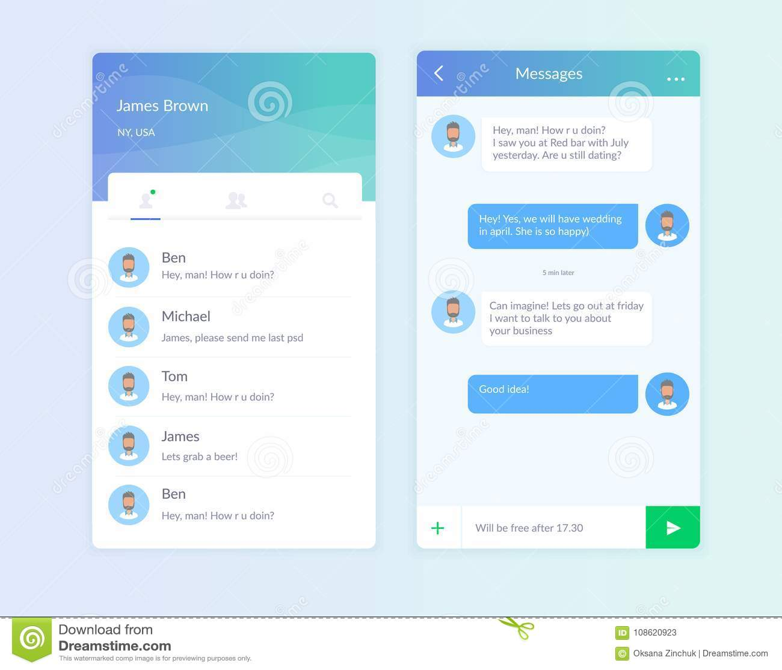 Interfaz de la charla del teléfono del vector Mensajero del SMS