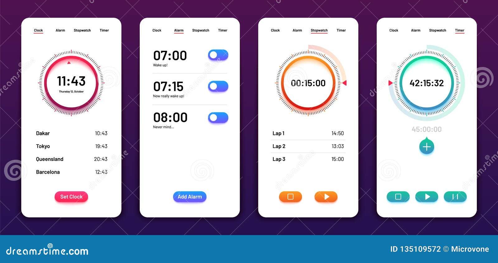 Interfaz de usuario del reloj Teléfono móvil del ui del contador de tiempo del cronómetro de la alarma Diseño del vector del app