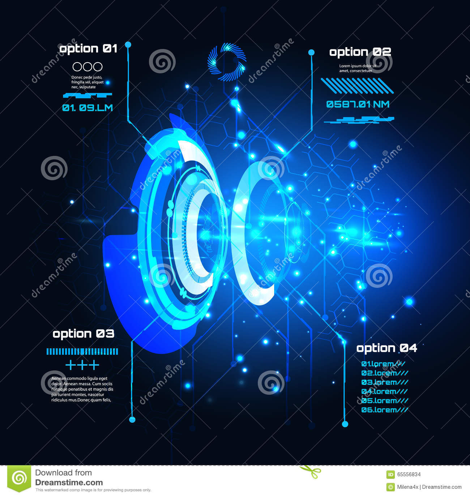 Interfaz de usuario futurista de Sci fi, infographics, HUD, fondo del vector de la tecnología
