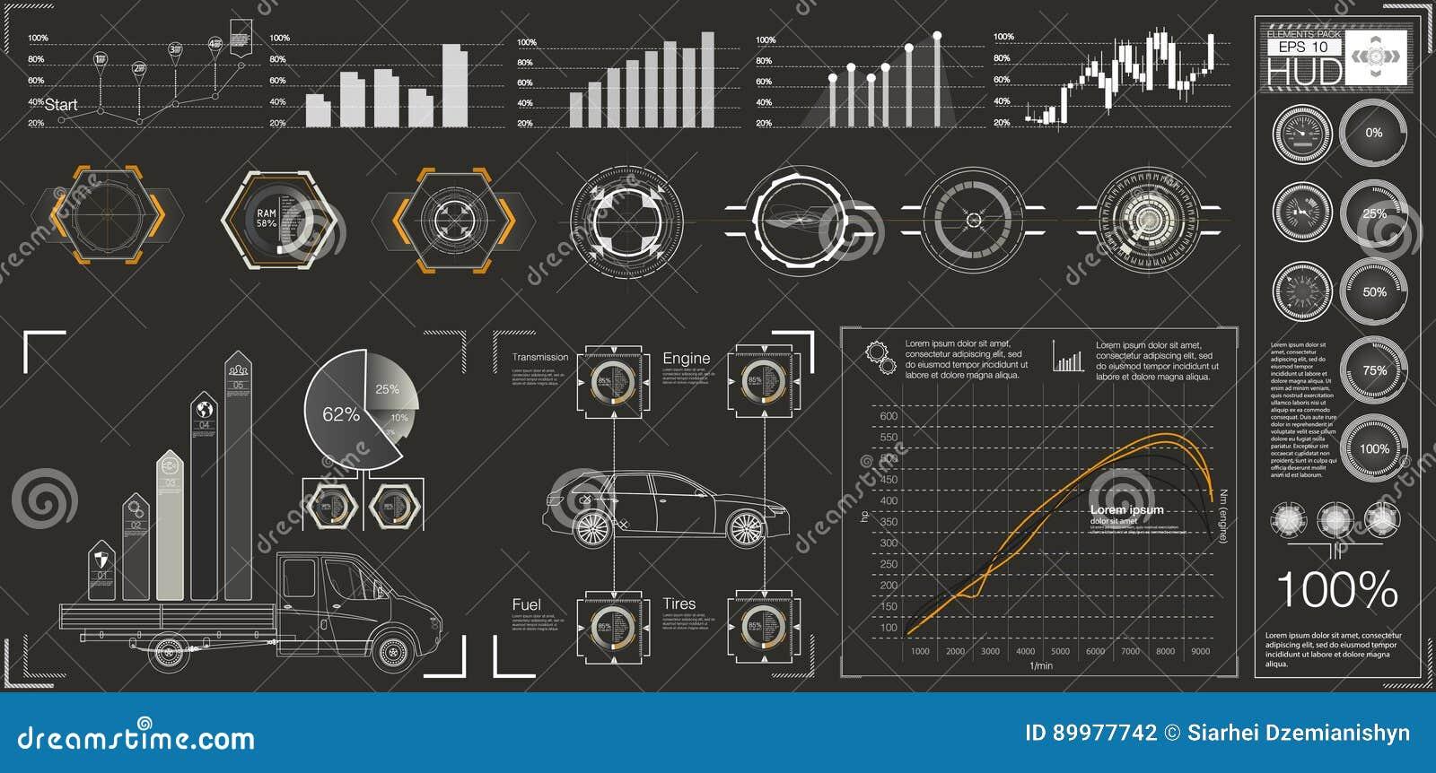 Interfaz de usuario futurista HUD UI Interfaz de usuario gráfica virtual abstracta del tacto Coches infographic Extracto de la ci