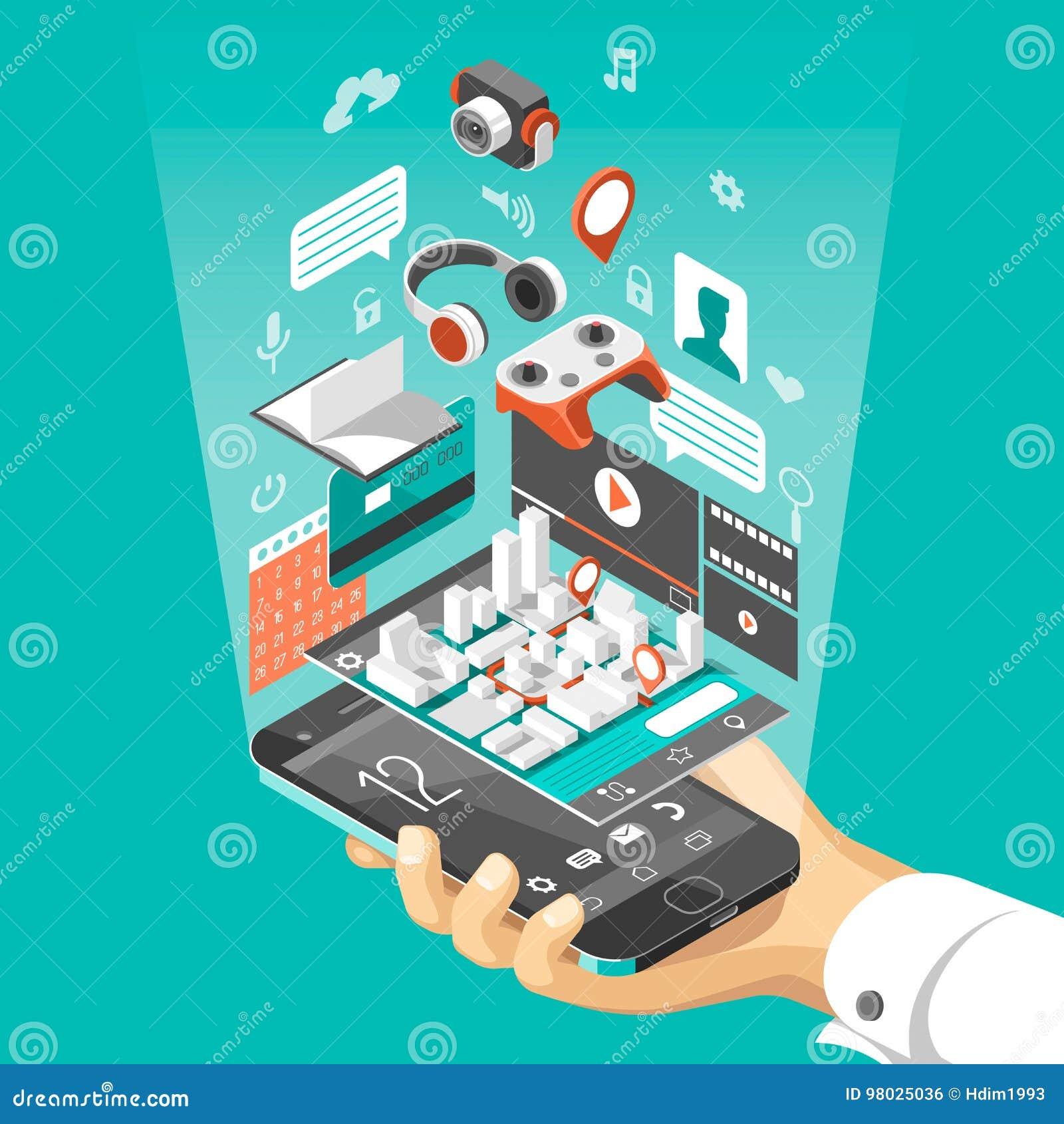 Interfaz elegante isométrico del teléfono Pantalla con los diversos apps e iconos Mapa en la aplicación móvil