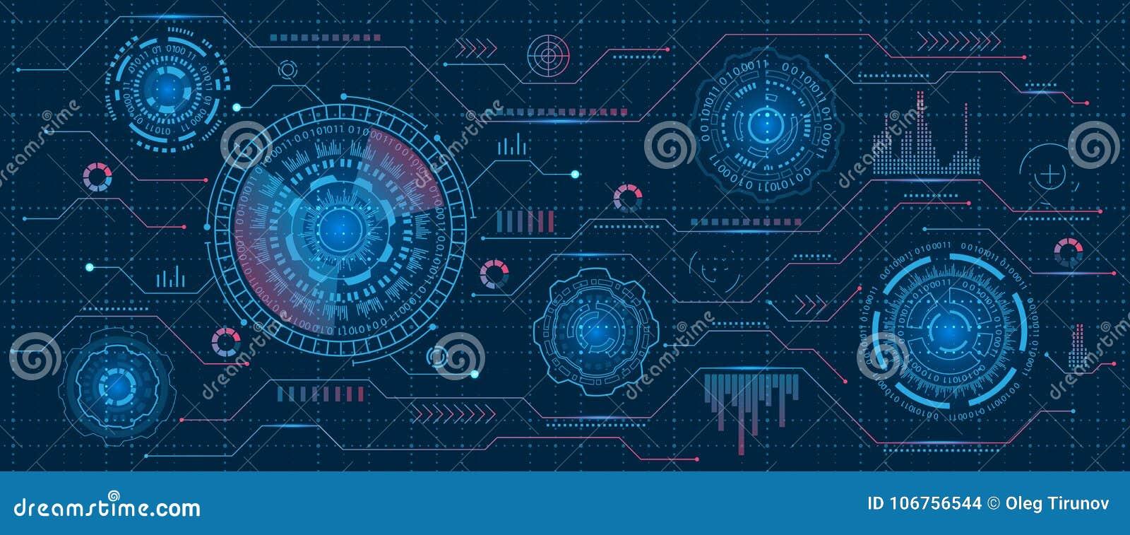 Interfaz futurista Hud Design, elementos de Infographic, tecnología y ciencia, tema del análisis, plantilla UI para el App y virt
