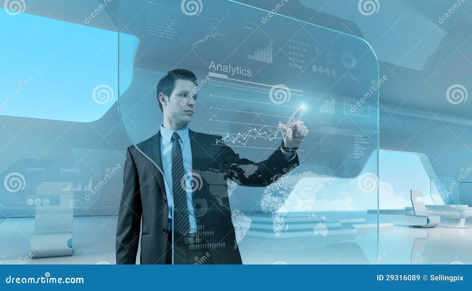 Interfaz futuro de la pantalla táctil de la tecnología del gráfico de la prensa del hombre de negocios
