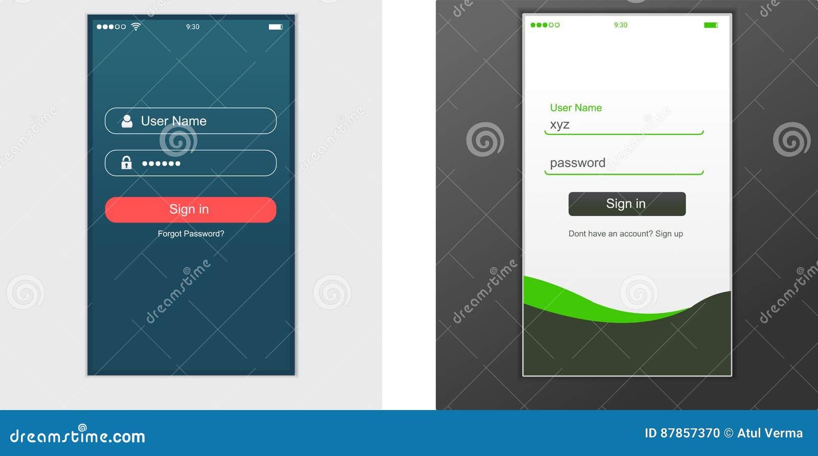 Interfejs Użytkownika, podaniowy szablonu projekt dla telefonu komórkowego