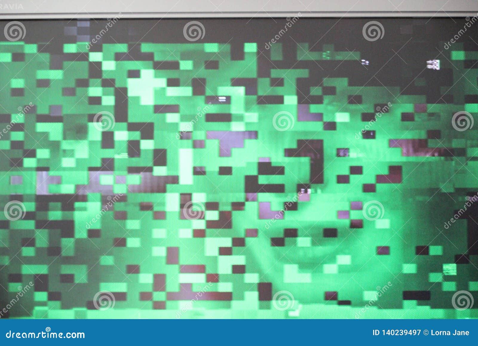 Interferencia digital de la prueba del pixilation del pixel de la pantalla del error de la interferencia texturizar la onda del s
