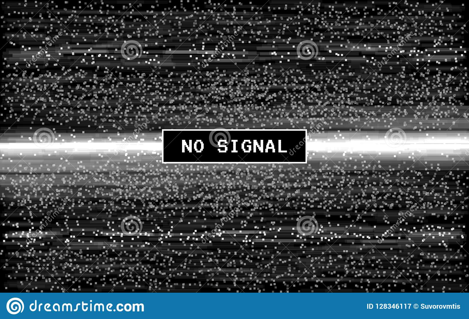 Interferencia ninguna señal Efecto retro de VHS Ruido digital del pixel en fondo negro Vieja plantilla video Líneas ruido de Glit