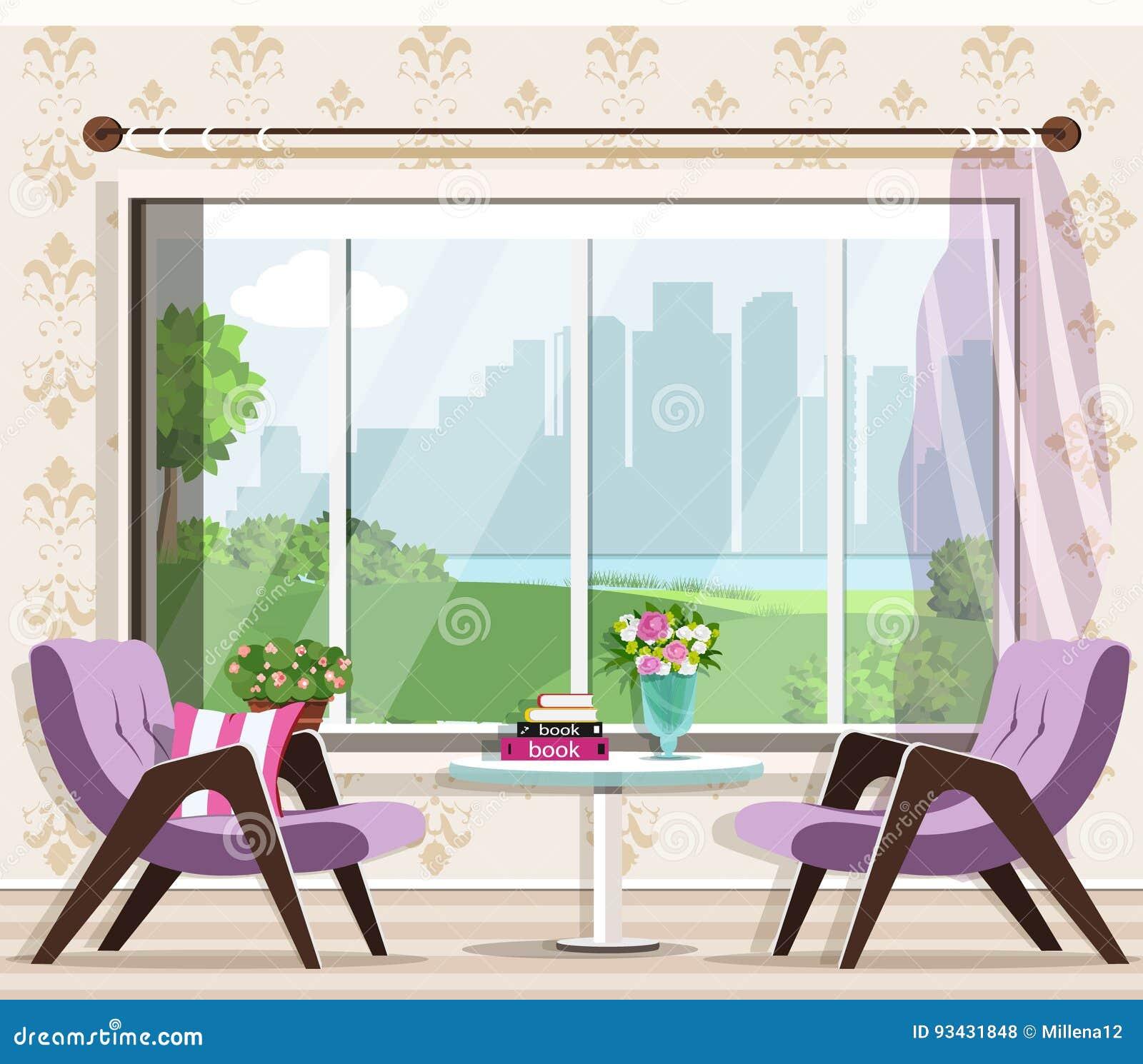 Interior à moda bonito da sala de visitas ajustado: poltronas, tabela, janela Mobília gráfica Design de interiores luxuoso da sal