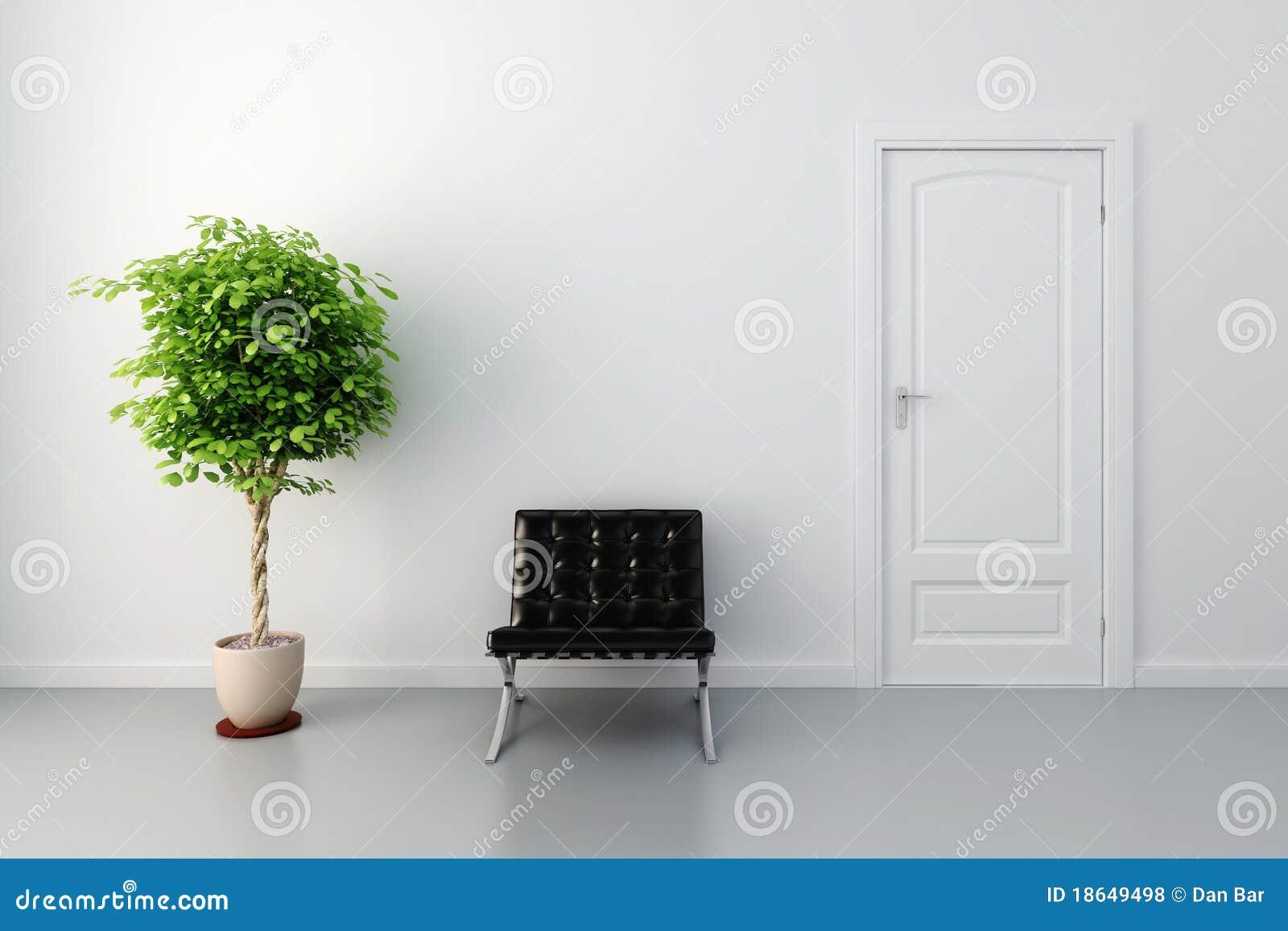 Interior 3d con la puerta y las paredes blancas