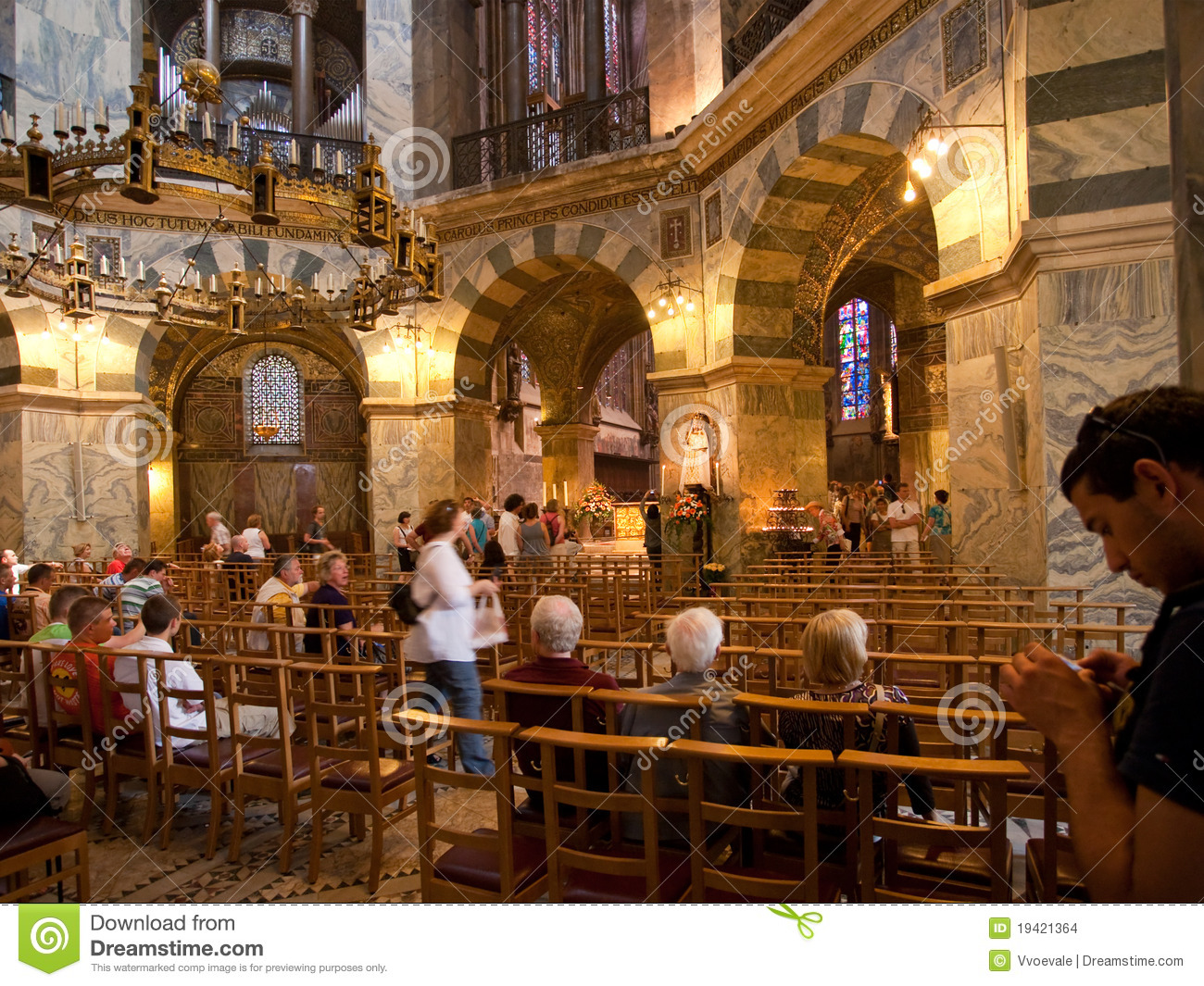 Interior Of Aachen Cathedral Germany Editorial Stock