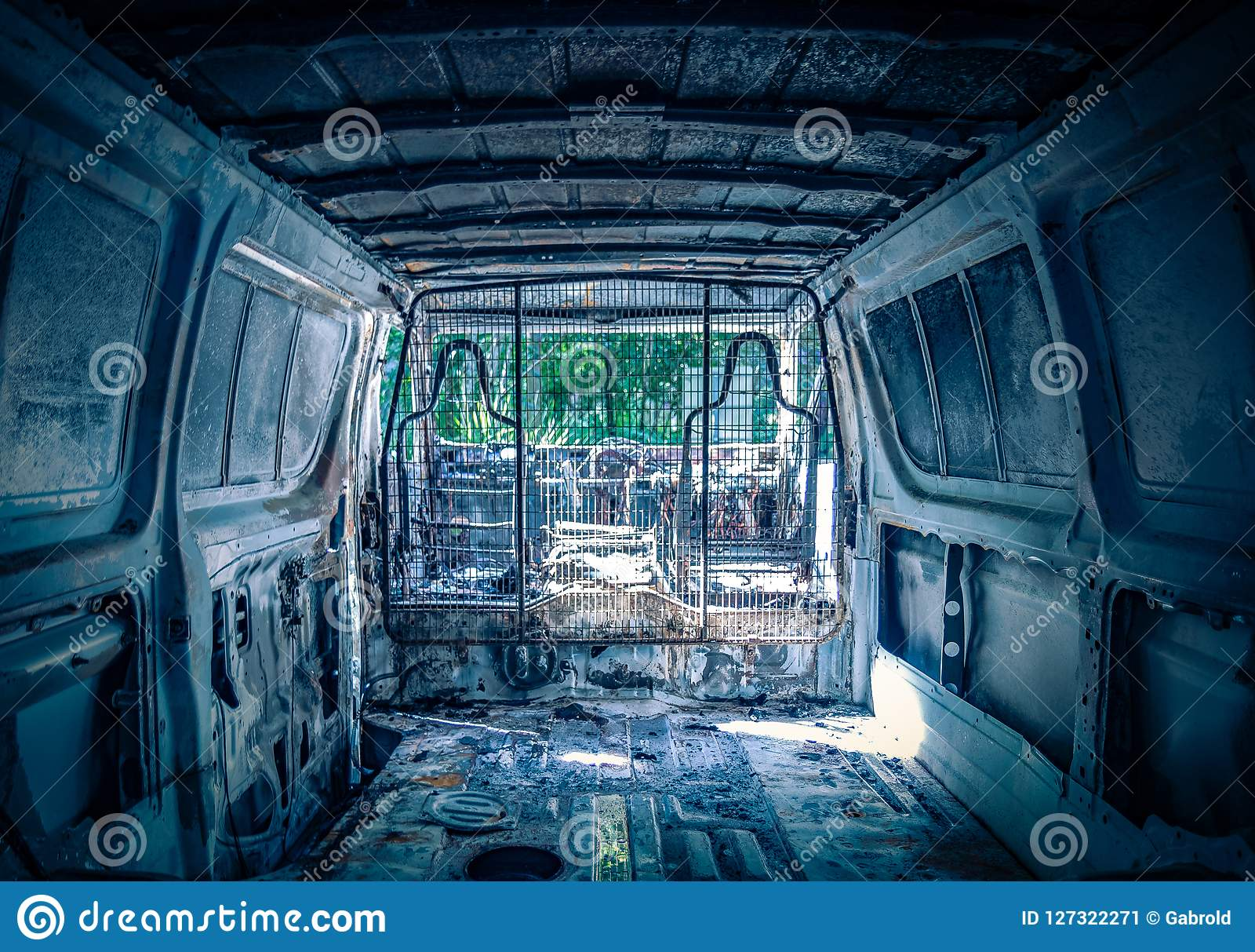 Interior of abandoned destroyed automobile