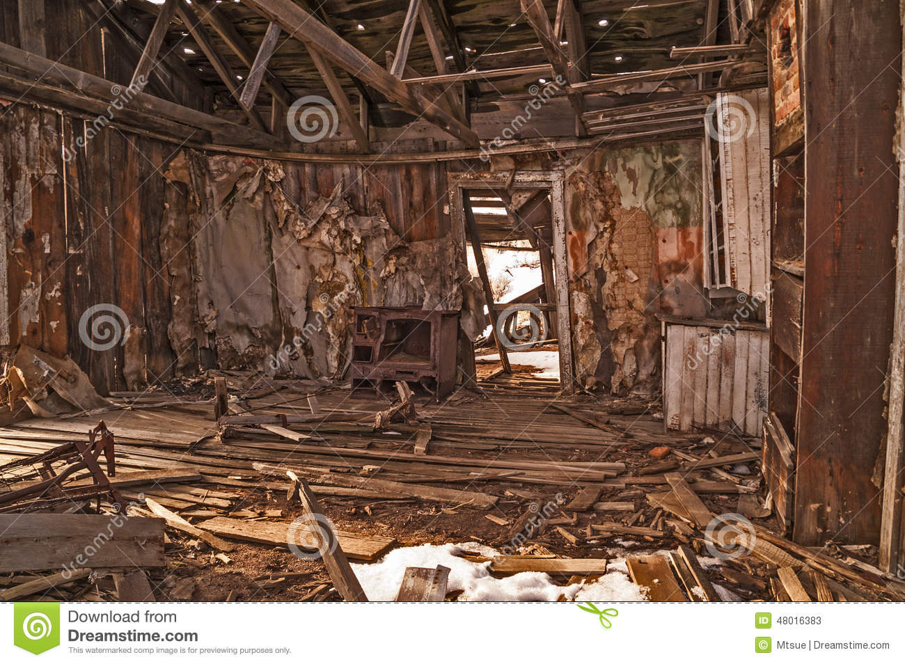 interior of an abandoned home stock image - image of disrepair