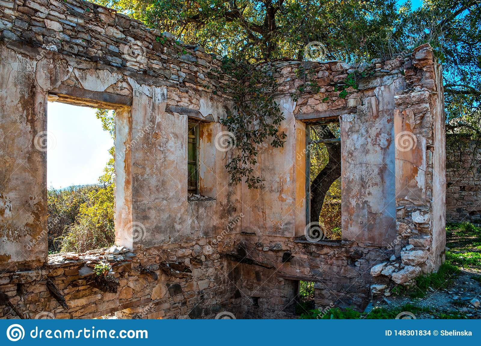 Interior Of Abandoned Ruined House In Cyprus  Broken Inner