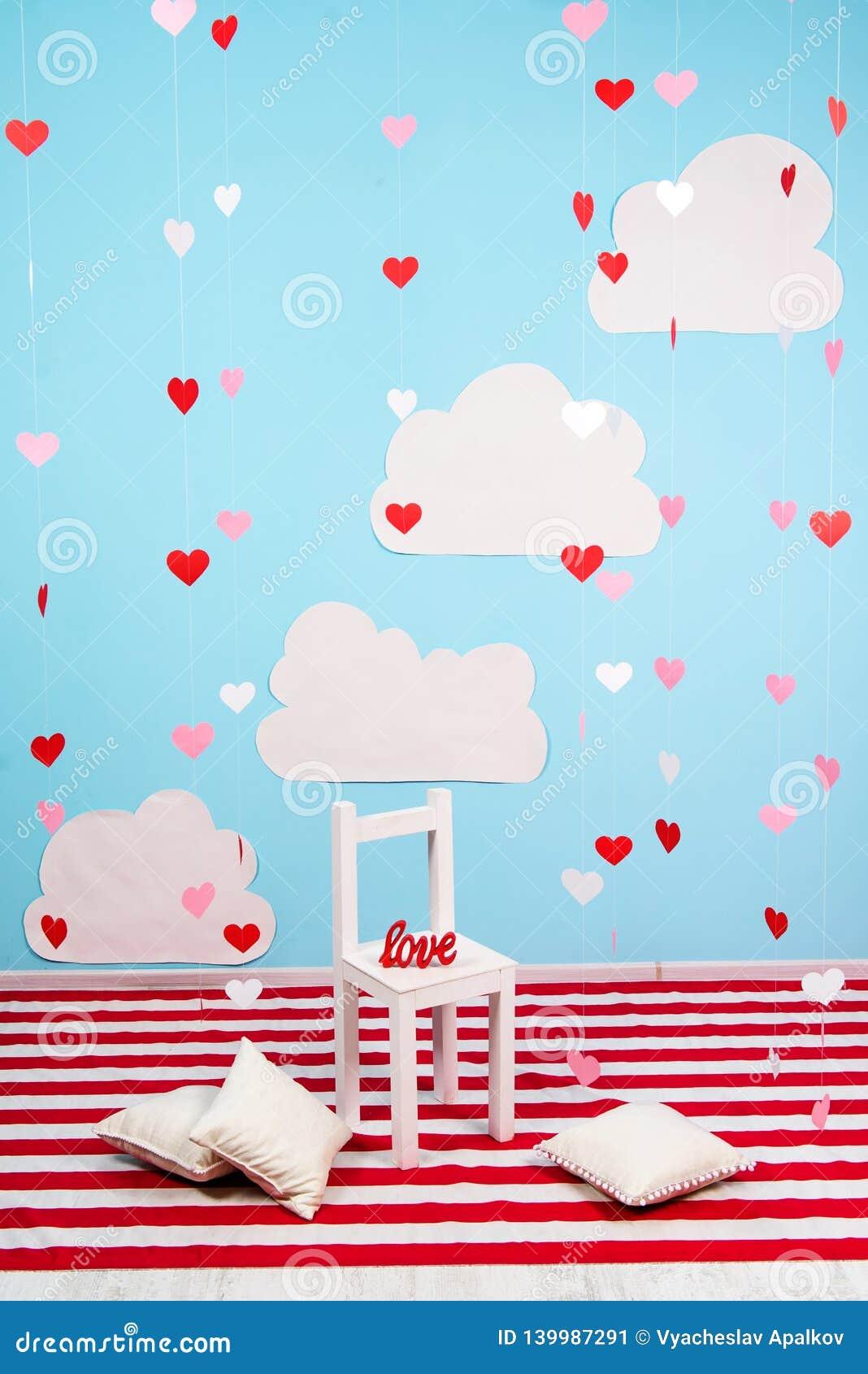 Interior adornado para del día de tarjeta del día de San Valentín del St