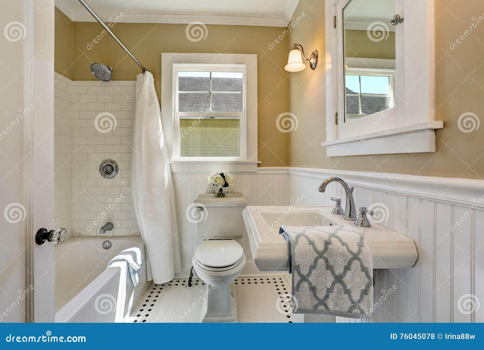 Interior Americano Del Cuarto De Baño En Los Tonos Blancos Y ...