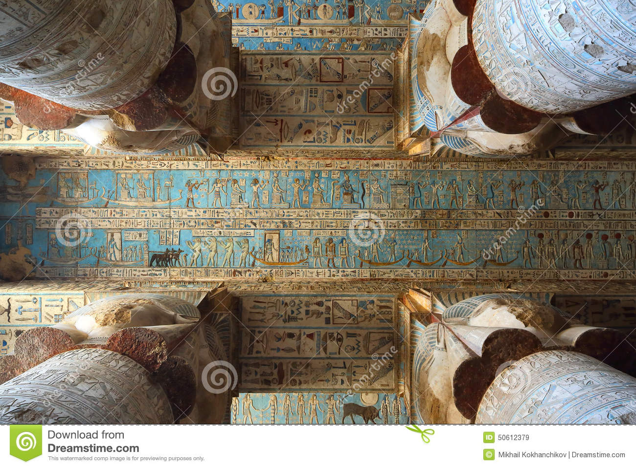 Ancient Egyptian Interior Architecture interior of ancient egypt temple in dendera stock photo - image