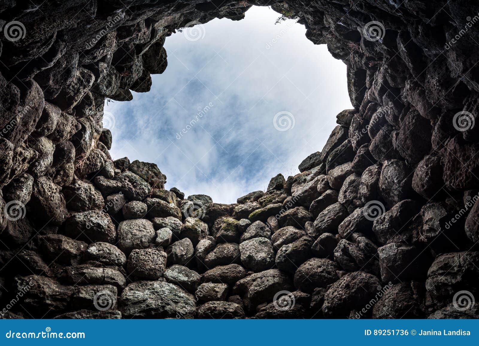 Interior of ancient ruins in Sardinia, Italy.