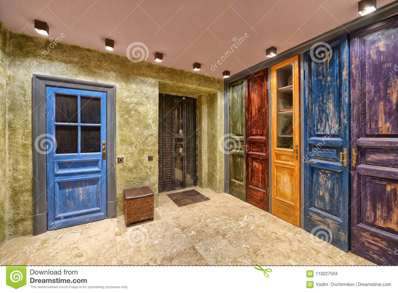 Antique door interior apartment with designer renovation in the style of a loft