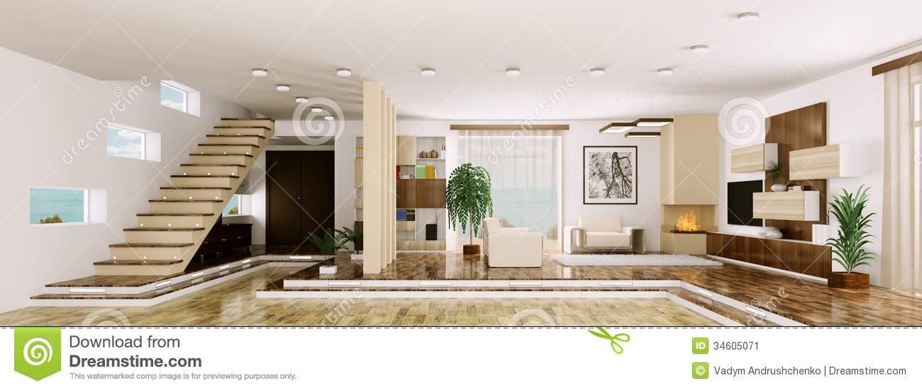 Interior of apartment panorama 3d render stock image for Living hall interior