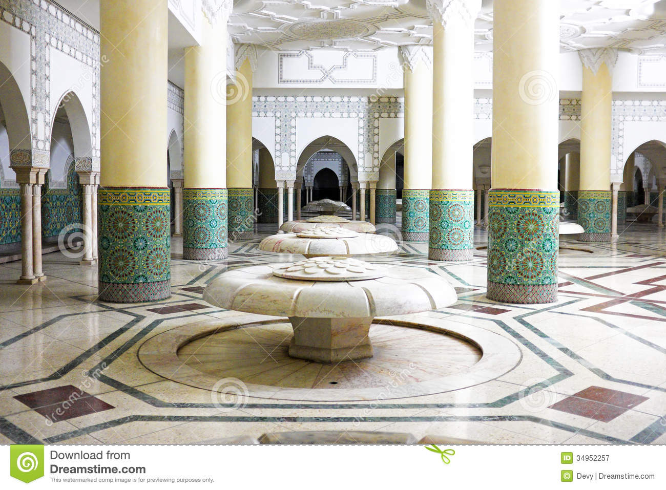 Download Interior Arches And Mosaic Tile Work In Hassan II Mosque In Casablanca, Morocco Stock Image - Image of ceramic, morocco: 34952257