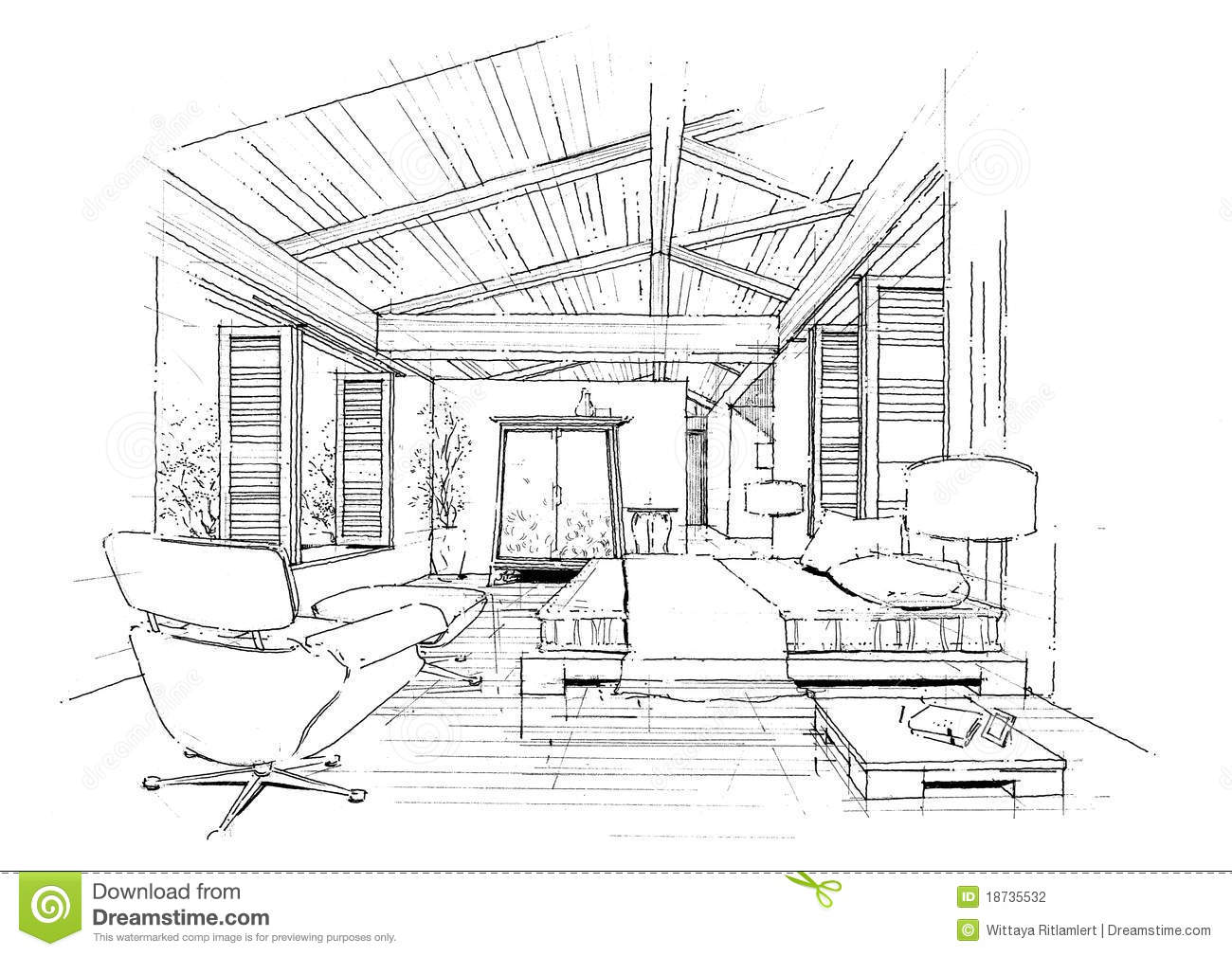 Interior architecture construction landscape sketc stock illustration illustration of for Construction drawings and details for interiors