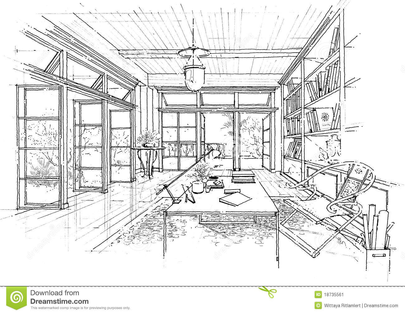 Interior architecture construction landscape sketc stock for Interior designs drawings