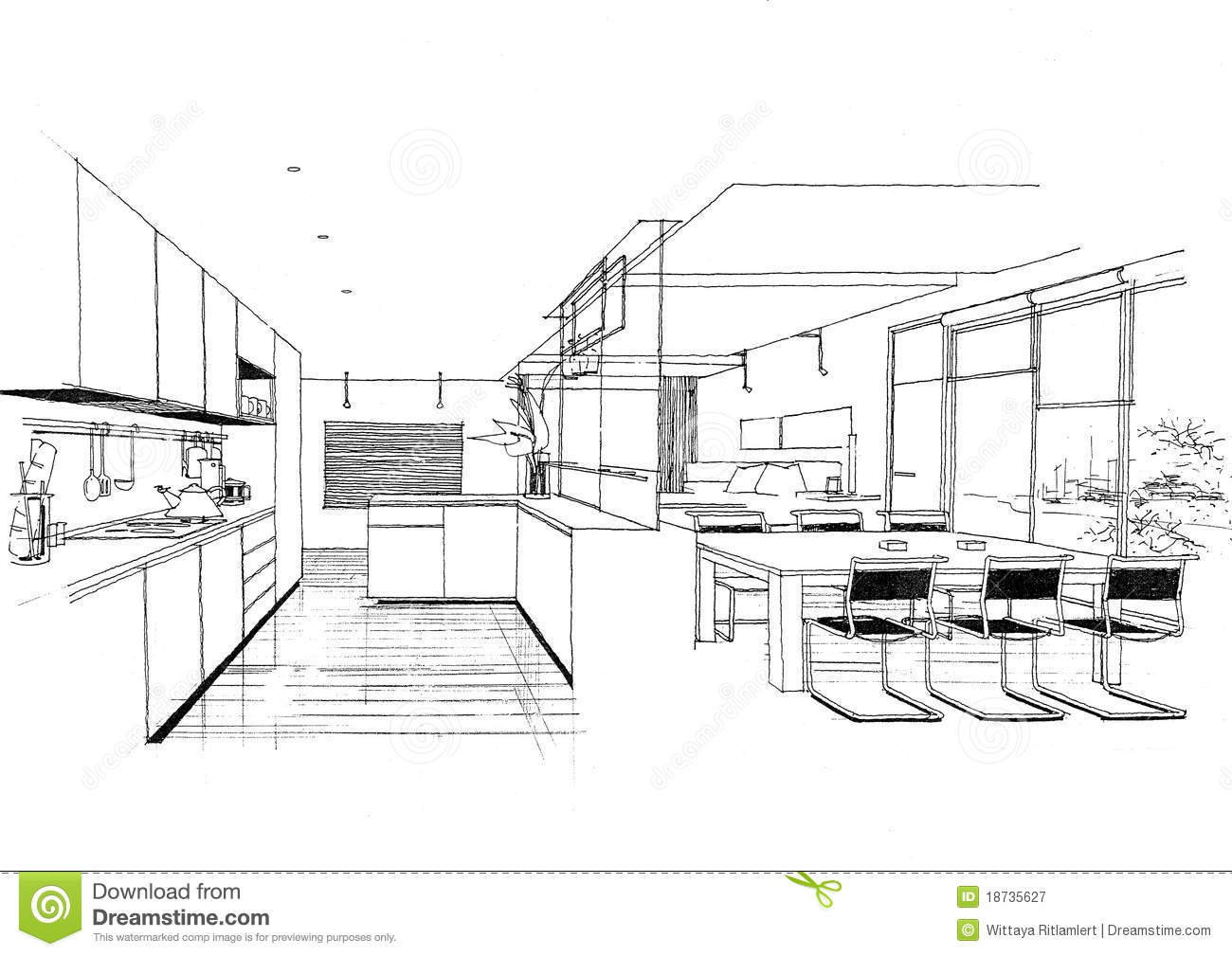 Interior Architecture Construction Landscape Sketc Royalty Free Stock Photography Image 18735627
