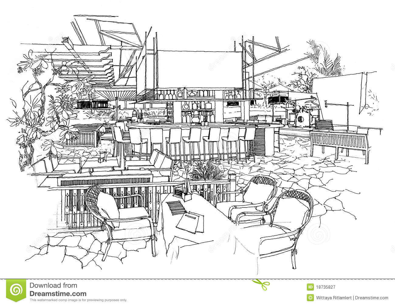 Interior architecture construction landscape sketch stock Online architecture drawing