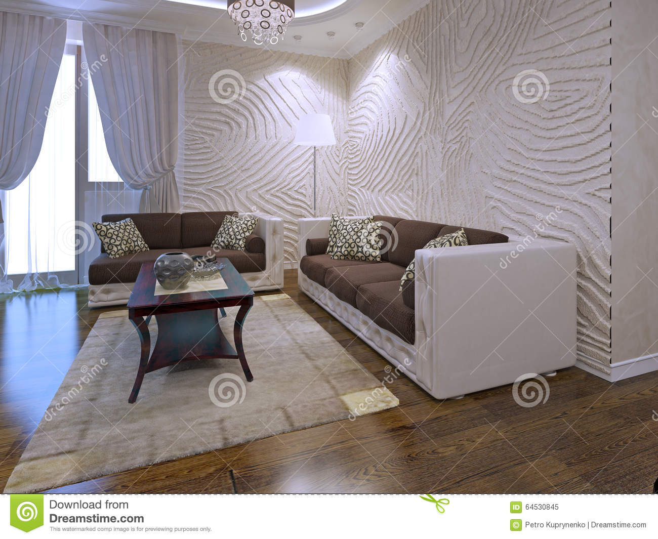 Interior of art deco lounge with wavy walls stock image image of