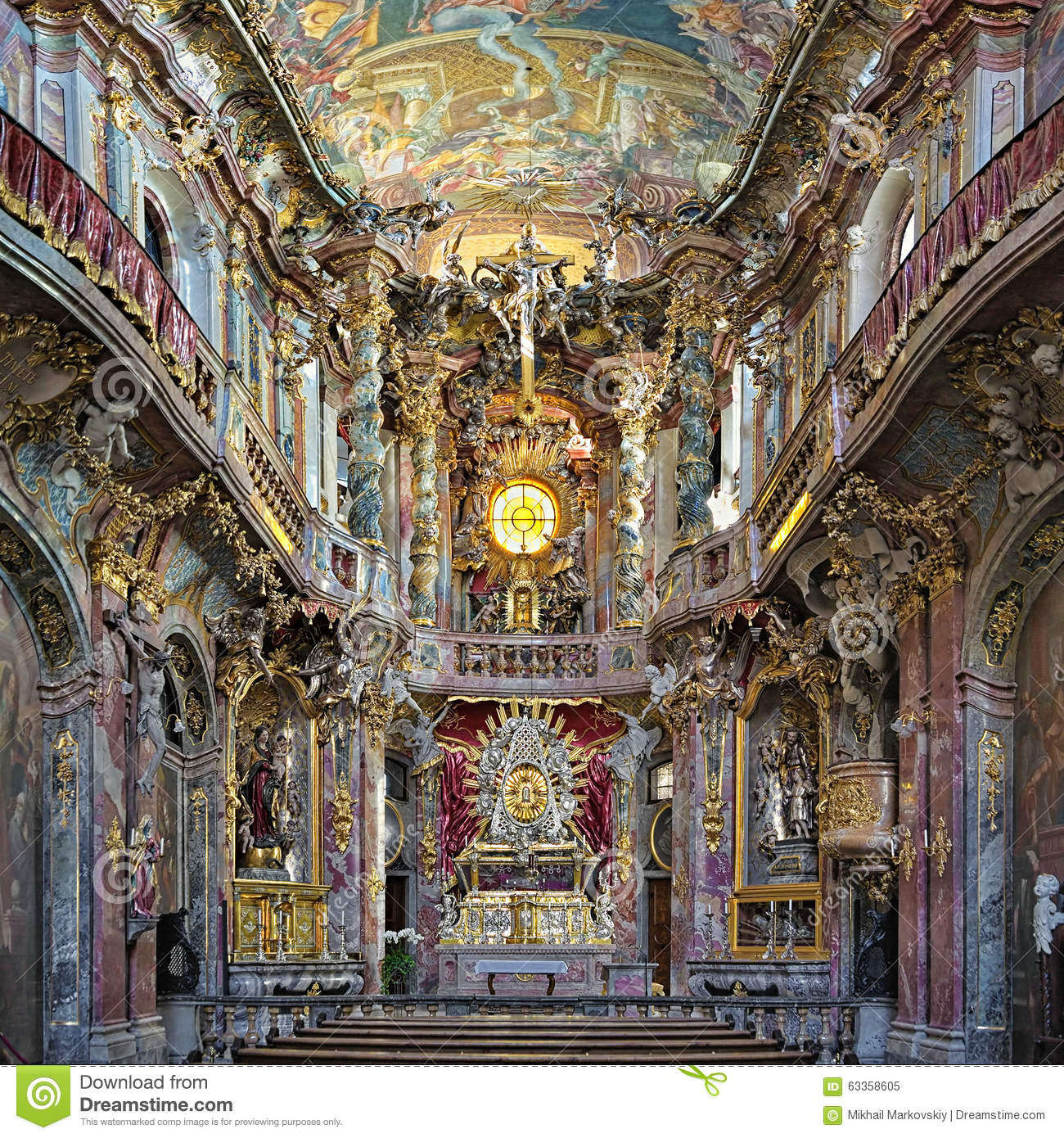 Interior Of Asamkirche In Munich Germany Editorial Image