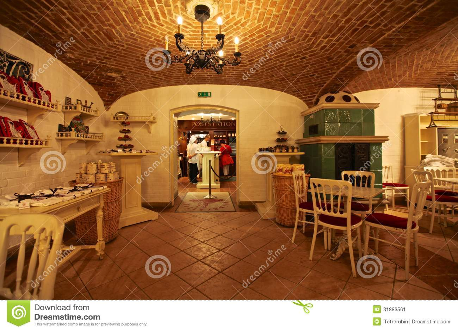 Interior of austrian restaurant in vienna austria