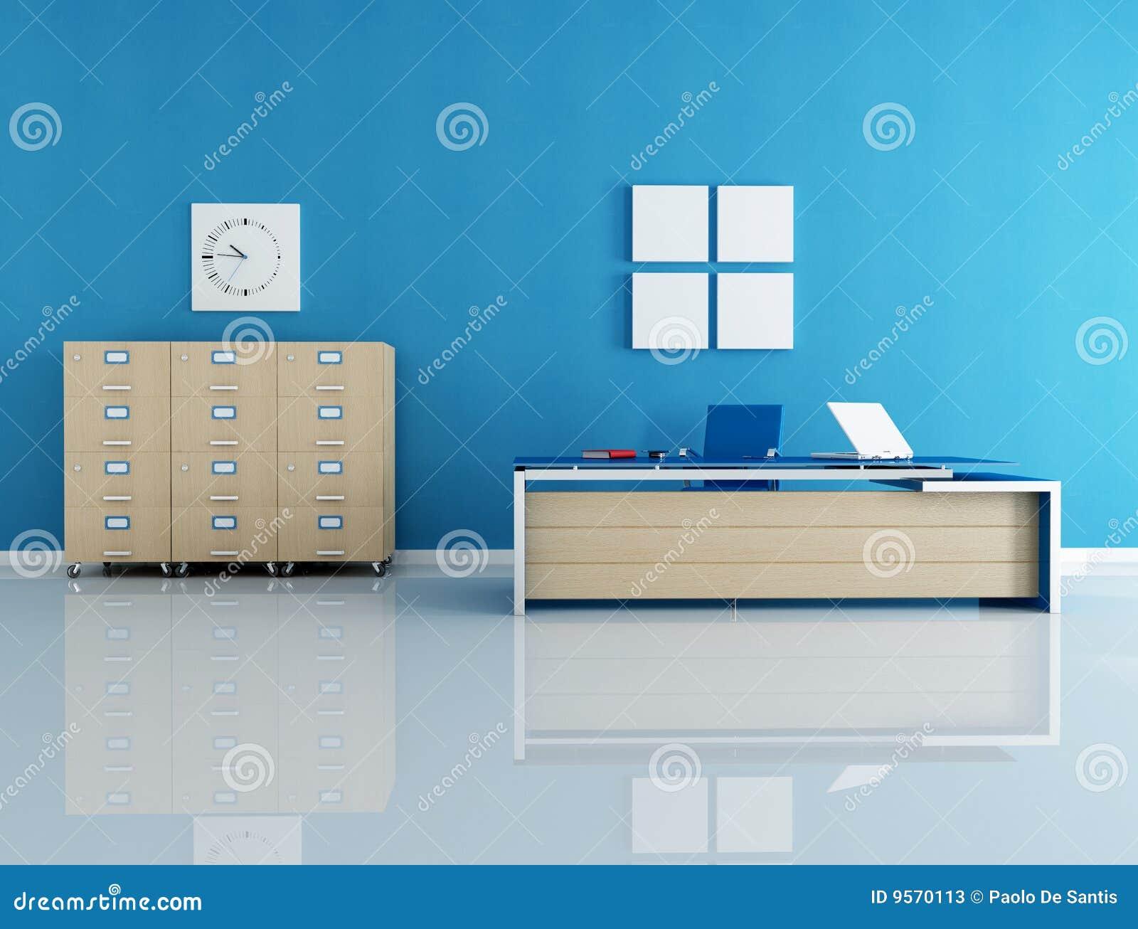 Interior azul do escritório